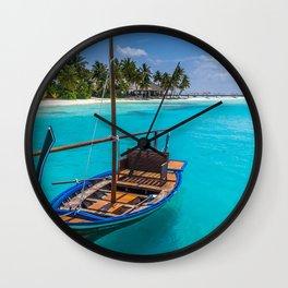 Tropical island boat Maldives beach summer vacation Wall Clock