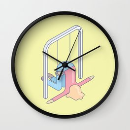 Exhausted woman on a swing. The struggle is real. Wall Clock