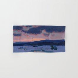 Clarence Gagnon - Crépuscule d'hiver - Winter Twilight, Baie St. Paul - Canadian Oil Painting Hand & Bath Towel