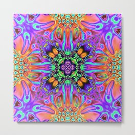 Vibrant Mirror of Abstract Shapes Metal Print
