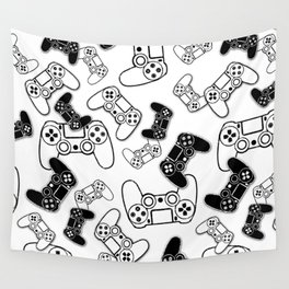 Video Games Black on White Wall Tapestry