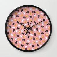 bunnies Wall Clocks featuring Bunnies! by Kashidoodles Creations