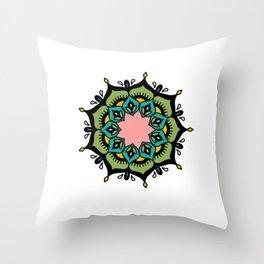 Mandala: Green and pink Throw Pillow