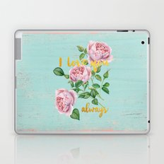 I love you- always - Gold glitter Typography on floral watercolor illustration Laptop & iPad Skin