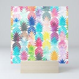 Hawaiian Pineapple Pattern Tropical Watercolor Mini Art Print