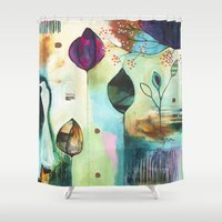 """flora bowley Shower Curtains featuring """"Abundance"""" Original Painting by Flora Bowley  by Flora Bowley"""