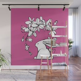 Happy Easter Pink Bunny and Flowers 2 Wall Mural