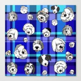 Plaid Sheepies Blue Canvas Print