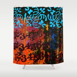 Numbers with Blue Shower Curtain
