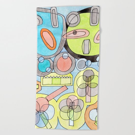 Abstract Star Colony Pattern Beach Towel