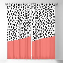Dalmation Spots with Coral Stripe (Pantone Living Coral) Blackout Curtain