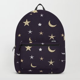 Gold and silver moon and star pattern on purple background Backpack