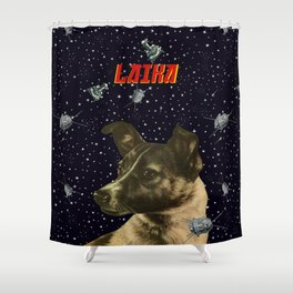 Gagarin space art #2 - Laika Shower Curtain