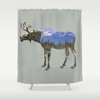 moose Shower Curtains featuring MOOSE by James Wetherington