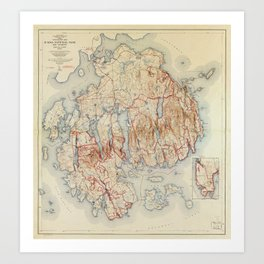 Map of Acadia National Park, Maine (1942) Art Print