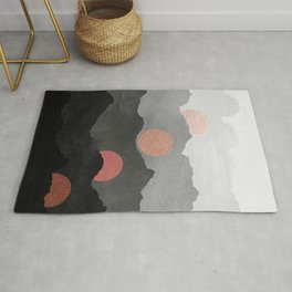 Mountains and the Moon - Black - Silver - Copper - Gold - Rose Gold Rug