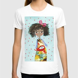 Red Bird Pet Doll Grungy Polka Dots T-shirt