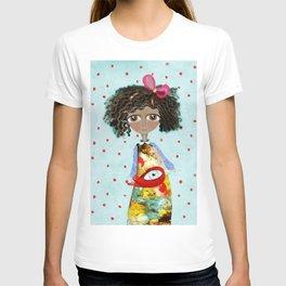 Red Bird Pet Doll Grungy Polka Dots T-shirt