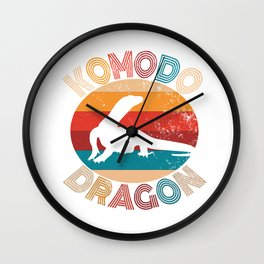 Vintage Komodo Dragon Lover Retro Lizard Silhouette Gift Wall Clock