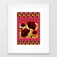 50s Framed Art Prints featuring 50s Roses by Marmalademudpie and Me
