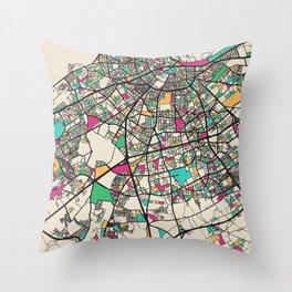 Colorful City Maps: Casablanca, Morocco Throw Pillow