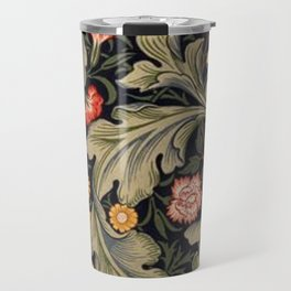 William Morris Laurel Multi-Colored Floral Textile Pattern Sunflower, Aster, Dahlia Travel Mug