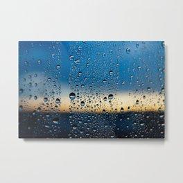 Sunset in Raindrops Metal Print