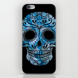 Blue Lace Sugar Skull iPhone Skin