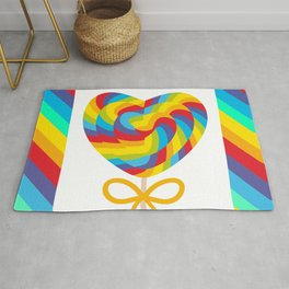 Valentine's Day Heart shaped candy lollipops with bow, colorful spiral candy cane with rainbow Rug