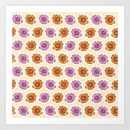 Daisy Floral Pattern Yellow Purple Orange Art Print