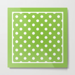 Lime Green Polka Dots Palm Beach Preppy Metal Print