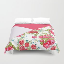 Geometric pink red white roses floral color block pattern Duvet Cover