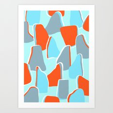 Blue Boulder Art Print