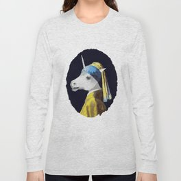 Unicorn with a Pearl Earring Long Sleeve T-shirt