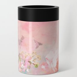 Modern blush watercolor ombre floral watercolor pattern Can Cooler