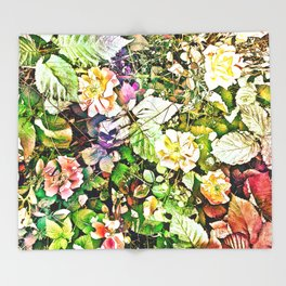 Scattered Blooms And Verdure Throw Blanket
