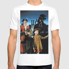 Darth Vader in Mary Poppins LARGE White Mens Fitted Tee