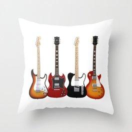 Four Electric Guitars Throw Pillow