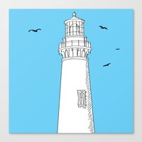 lighthouse Canvas Prints featuring Lighthouse by Janko Illustration
