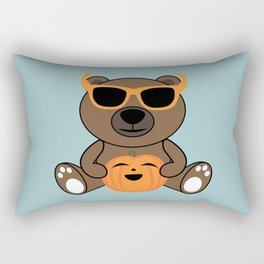 Cool Halloween bear holding pumpkin on Light Blue Rectangular Pillow