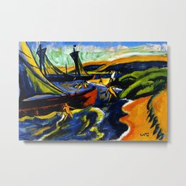 Sailboats & Beach at Nidden by Hermann Max Pechstein Metal Print