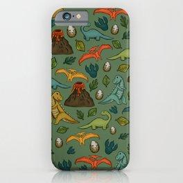 Dinosaurs, Jurassic Art, Volcanos and T-Rex, Dino Print iPhone Case