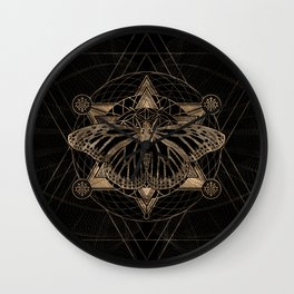 Butterfly in Sacred Geometry - Black and Gold Wall Clock