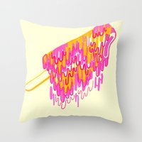 popsicle Throw Pillows featuring Popsicle by Dewey Saunders