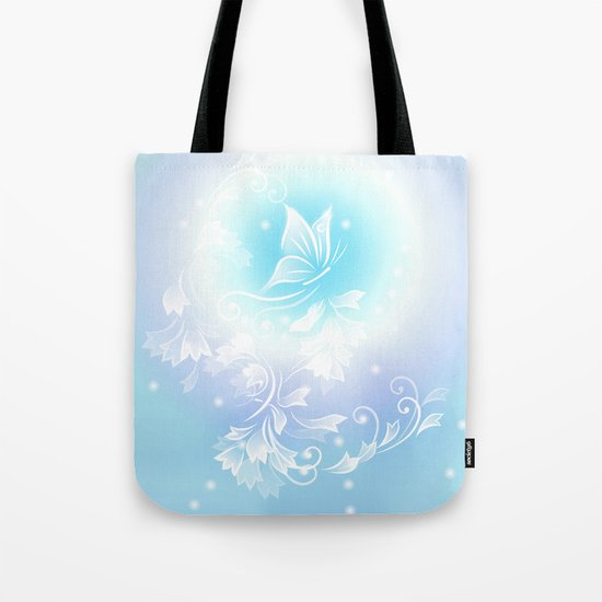 Floral Turquoise Butterfly Fantasy Tote Bag
