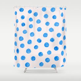 Painted blue dots Shower Curtain