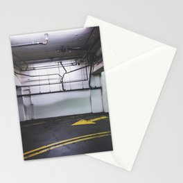 parking lot with the yellow arrow and tubes Stationery Cards