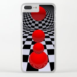 red-white-black -4- Clear iPhone Case
