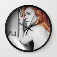 lindsay lohan Wall Clocks featuring Lindsay Lohan by Katieb1013