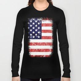 American Grunge Flag Long Sleeve T-shirt
